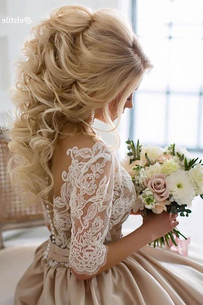 42 Half Up Half Down Wedding Hairstyles Ideas | Hair | Pinterest For Sleek And Big Princess Ball Gown Updos For Brides (View 4 of 25)