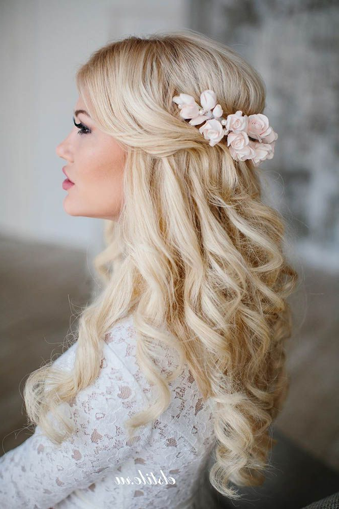 42 Half Up Half Down Wedding Hairstyles Ideas | Hair Styles With Regard To Curled Side Updo Hairstyles With Hair Jewelry (View 20 of 25)