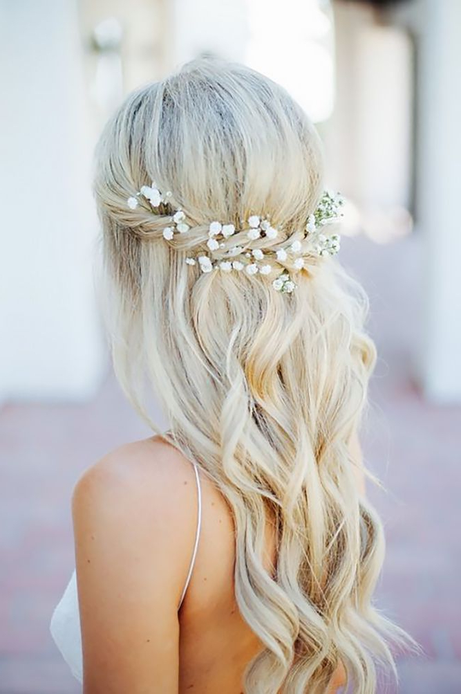 42 Half Up Half Down Wedding Hairstyles Ideas | Hairstyles Within Bold Blonde Bun Bridal Updos (View 7 of 25)