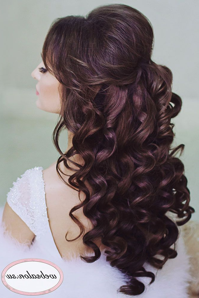 42 Half Up Half Down Wedding Hairstyles Ideas | Wedding Hair Trial In Semi Bouffant Bridal Hairstyles With Long Bangs (View 6 of 25)