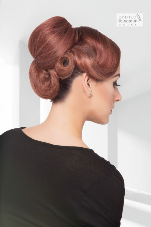 "42 Pin Up Hairstyles That Scream ""retro Chic"" (Tutorials Included) Inside Voluminous Curly Updo Hairstyles With Bangs (View 20 of 25)"