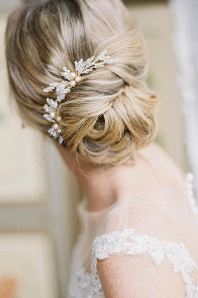 42 Wedding Hairstyles – Romantic Bridal Updos   Bridal Hair Styles Within Embellished Twisted Bun For Brides (View 8 of 25)