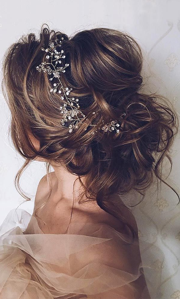 42 Wedding Hairstyles – Romantic Bridal Updos | Nothing Wrong With Regarding Wavy Low Bun Bridal Hairstyles With Hair Accessory (View 3 of 25)