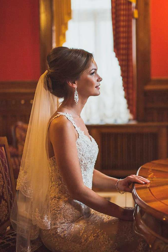 42 Wedding Hairstyles With Veil   Wedding Dresses   Pinterest In Wedding Hairstyles With Extra Long Veil With A Train (View 12 of 25)