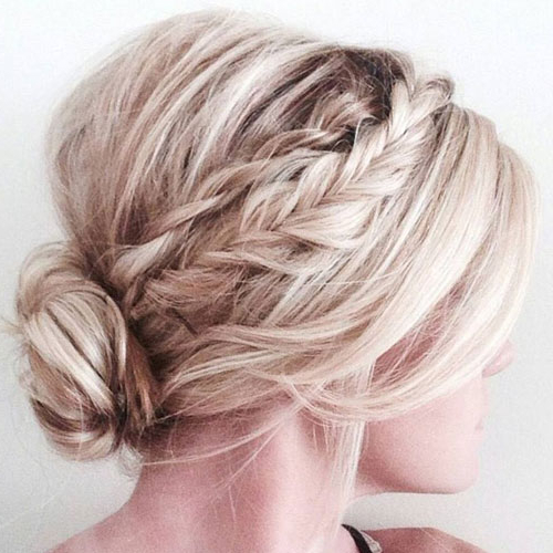45 Cute & Easy Updos For Short Hair (2019 Guide) With Low Messy Chignon Bridal Hairstyles For Short Hair (View 10 of 25)