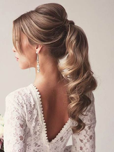 Featured Photo of Fancy Flowing Ponytail Hairstyles For Wedding