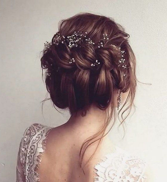 45 Most Romantic Wedding Hairstyles For Long Hair | Wedding With Destructed Messy Curly Bun Hairstyles For Wedding (View 4 of 25)