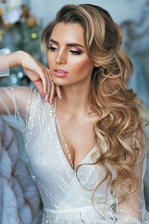45 Most Romantic Wedding Hairstyles For Long Hair | Wedding Within Wild Waves Bridal Hairstyles (View 7 of 25)