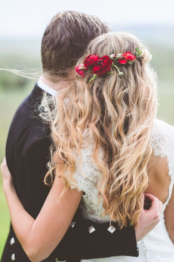 Featured Photo of Floral Crown Half Up Half Down Bridal Hairstyles