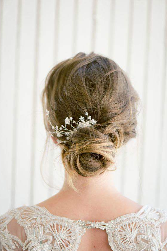 46 Best Ideas For Hairstyles For Thin Hair Inside Wavy Low Bun Bridal Hairstyles With Hair Accessory (View 6 of 25)