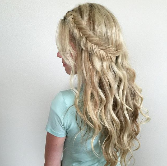 5 Relaxed Braided Hairstyles | Hairstyle Mag Within Diagonal Waterfall Braid In Half Up Bridal Hairstyles (View 20 of 25)