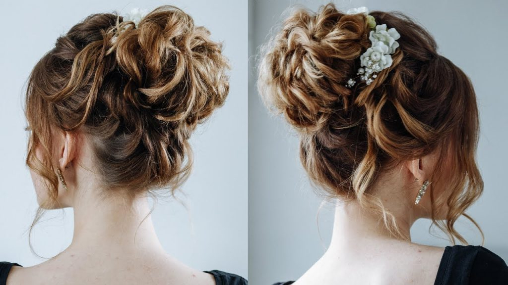 5 Smartest Messy Buns For Curly Hair [2019] Within Tied Back Ombre Curls Bridal Hairstyles (View 10 of 25)
