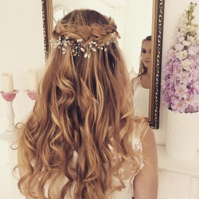 50 Charming Wedding Hairstyles For Long Hair With Regard To Highlighted Braided Crown Bridal Hairstyles (View 22 of 25)