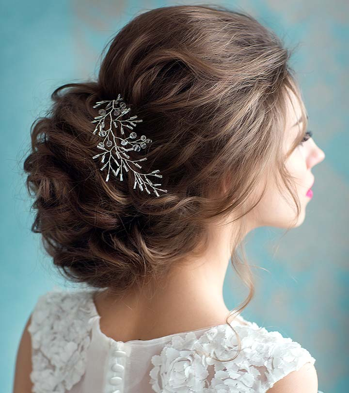 50 Fabulous Bridal Hairstyles For Short Hair Within Embellished Twisted Bun For Brides (View 5 of 25)