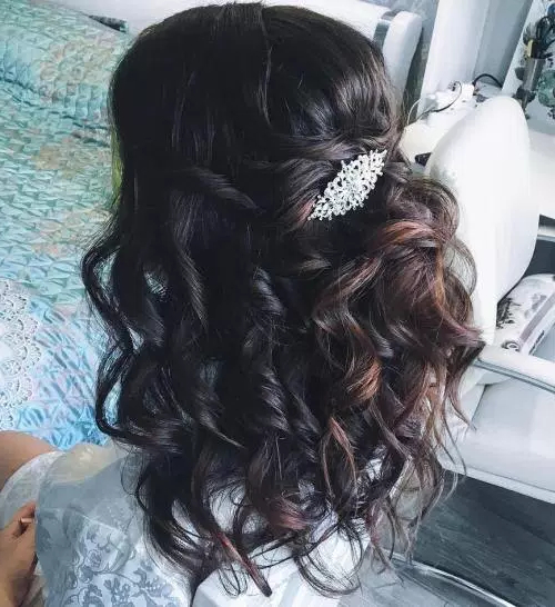 50 Stylish Half Up Half Down Wedding Hairstyles – Page 12 Of 51 Pertaining To Pinned Brunette Ribbons Bridal Hairstyles (View 4 of 25)