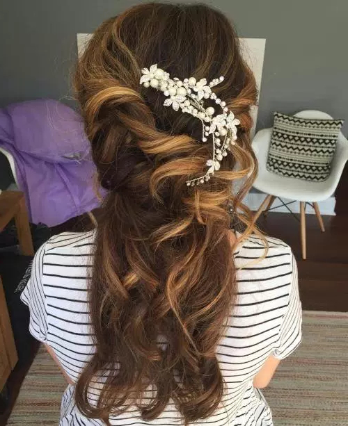 50 Stylish Half Up Half Down Wedding Hairstyles – Page 18 Of 51 Pertaining To Accessorized Undone Waves Bridal Hairstyles (View 2 of 25)