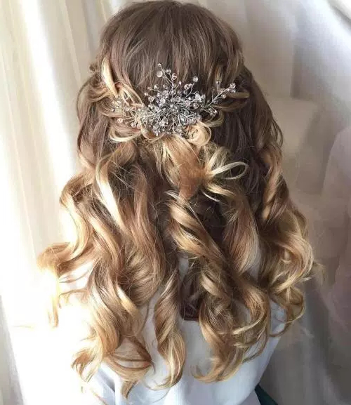 50 Stylish Half Up Half Down Wedding Hairstyles – Page 23 Of 51 Intended For Golden Half Up Half Down Curls Bridal Hairstyles (View 7 of 25)