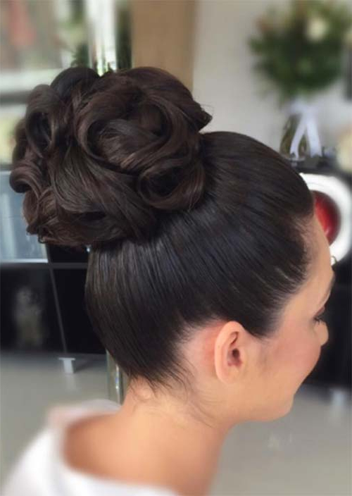 53 Swanky Wedding Updos For Every Bride To Be – Glowsly In Sleek And Voluminous Beehive Bridal Hairstyles (View 23 of 25)