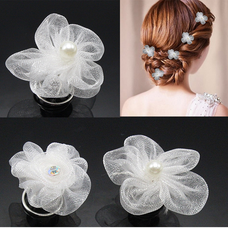 5Pcs/lot Wome Girls Wedding Bridal Hairstyles Jewelry White Flower Within Embellished Twisted Bun For Brides (View 23 of 25)