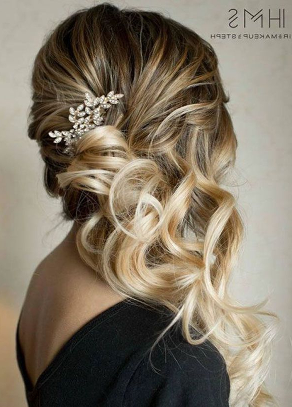 6 Romantic Wedding Hairstyles That Will Make Him Fall In Love All Regarding Large Curly Bun Bridal Hairstyles With Beaded Clip (Gallery 2 of 25)