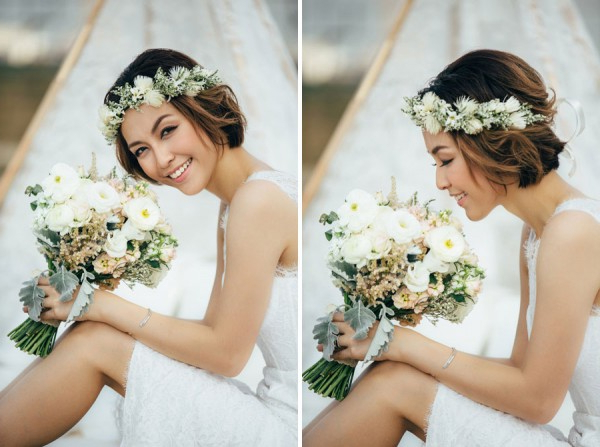 6 Stunning Bridal Hairstyles For Short Hair Within Flower Tiara With Short Wavy Hair For Brides (Gallery 11 of 25)