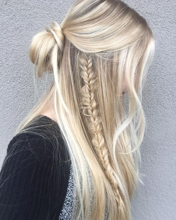 60 Cute Easy Half Up Half Down Hairstyles – For Wedding, Prom, And Inside Simplified Waterfall Braid Wedding Hairstyles (Gallery 4 of 25)