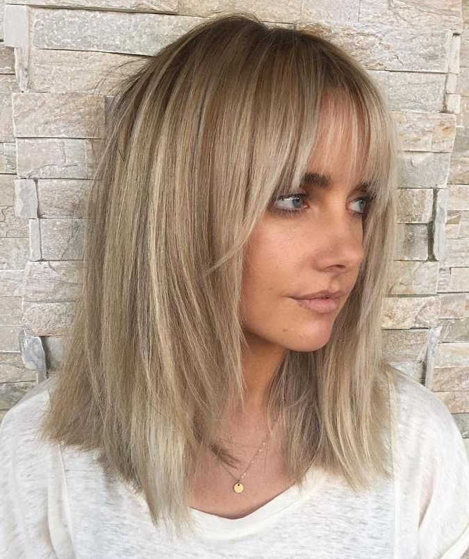 60 Fun And Flattering Medium Hairstyles For Women | Hair And Makeup For Curly Ash Blonde Updo Hairstyles With Bouffant And Bangs (Gallery 12 of 25)
