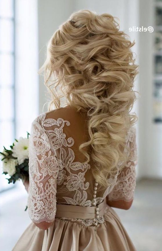 60 Perfect Long Wedding Hairstyles With Glam | Wedding Hairstyles Throughout Large Curl Updos For Brides (View 19 of 25)