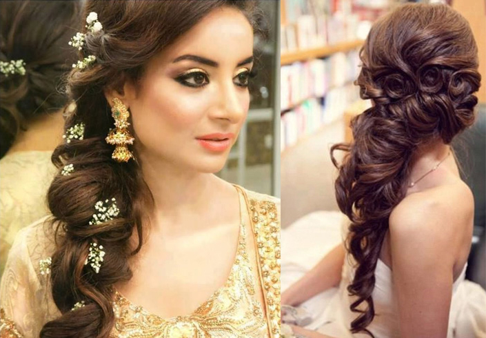 60+ Traditional Indian Bridal Hairstyles For Your Wedding For Curled Side Updo Hairstyles With Hair Jewelry (Gallery 16 of 25)