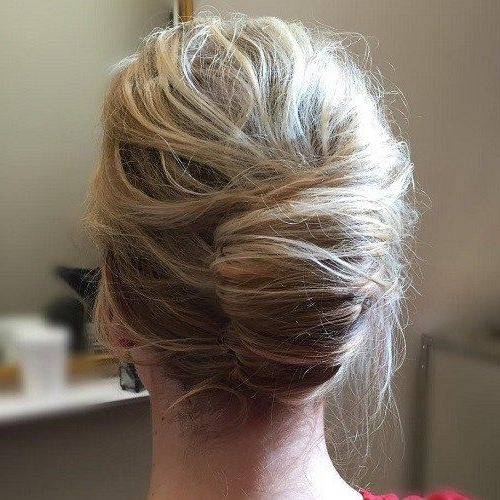 60 Trendiest Updos For Medium Length Hair | ?H A I R R R | Hair With Messy French Roll Bridal Hairstyles (Gallery 6 of 25)