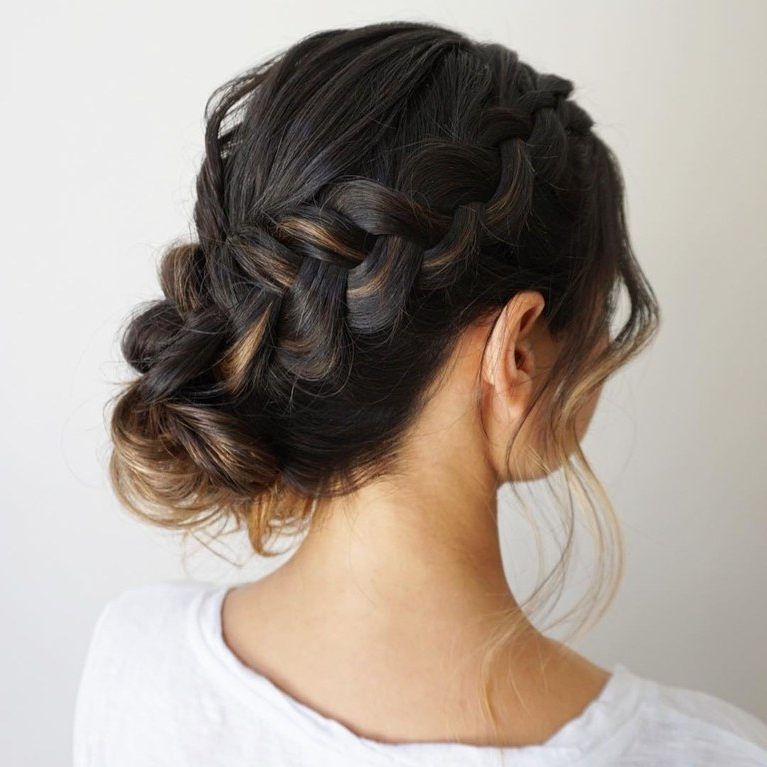 61 Braided Wedding Hairstyles | Brides Inside Bohemian Braided Bun Bridal Hairstyles For Short Hair (Gallery 24 of 25)