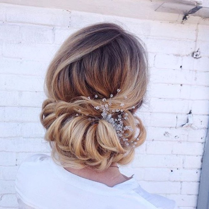 61 Braided Wedding Hairstyles | Brides Inside Large Curly Bun Bridal Hairstyles With Beaded Clip (View 17 of 25)