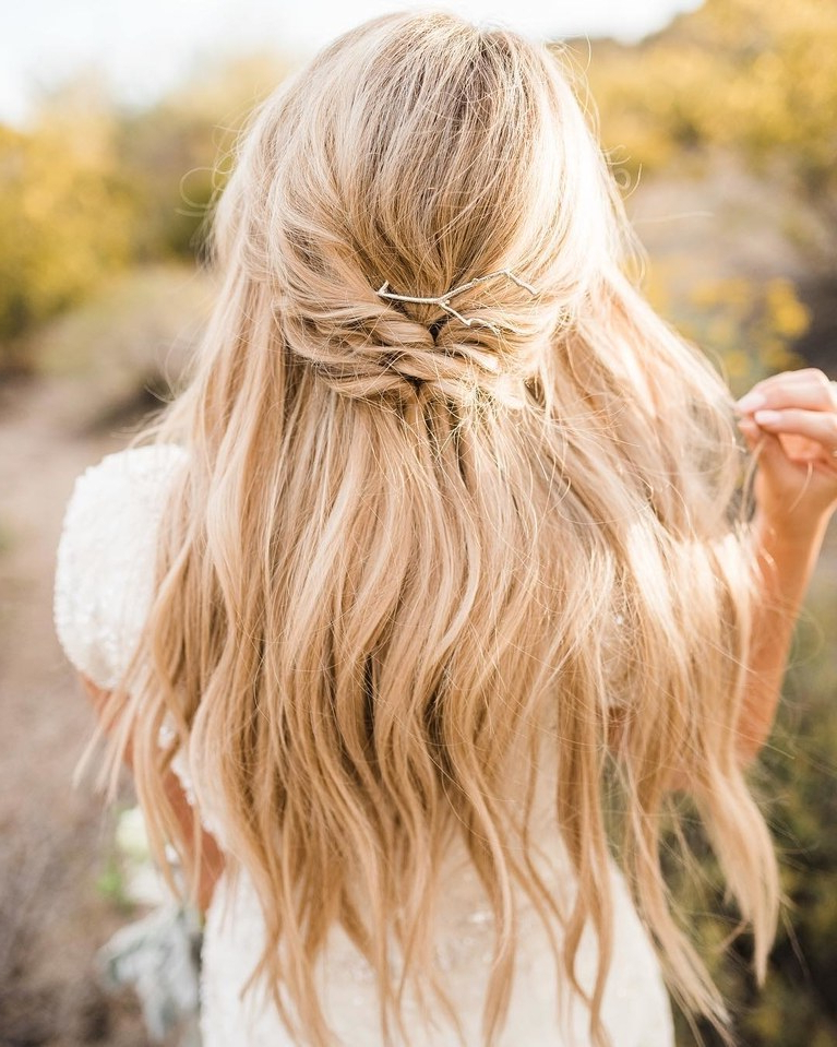 61 Braided Wedding Hairstyles | Brides Intended For Half Up Wedding Hairstyles With Jeweled Clip (View 14 of 25)