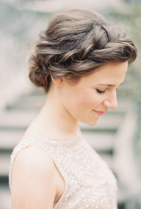 61 Braided Wedding Hairstyles | Brides Regarding Curly Bob Bridal Hairdos With Side Twists (Gallery 25 of 25)