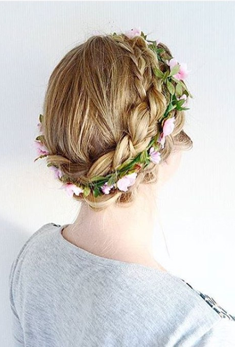 61 Braided Wedding Hairstyles | Brides Regarding Undone Low Bun Bridal Hairstyles With Floral Headband (Gallery 23 of 25)