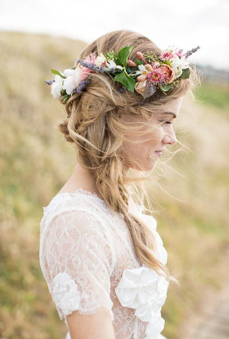 61 Braided Wedding Hairstyles | Brides With Regard To Bohemian Curls Bridal Hairstyles With Floral Clip (View 7 of 25)