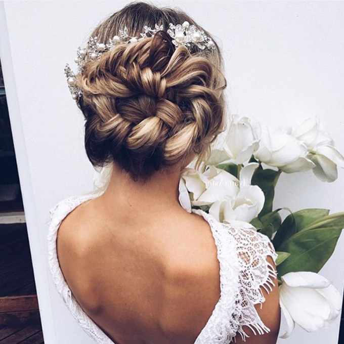 61 Braided Wedding Hairstyles | Brides Within Side Lacy Braid Bridal Updos (Gallery 18 of 25)