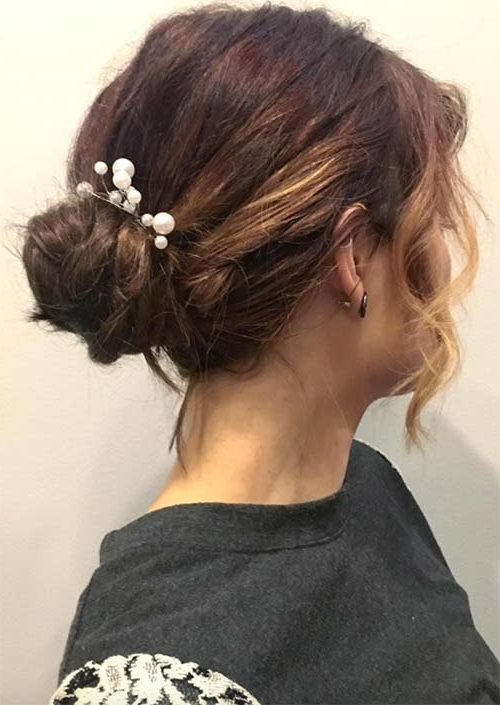 63 Creative Updos For Short Hair Perfect For Any Occasion – Glowsly Throughout Wavy Low Bun Bridal Hairstyles With Hair Accessory (View 23 of 25)