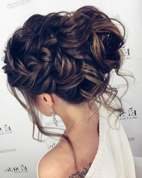 65 Long Bridesmaid Hair & Bridal Hairstyles For Wedding 2019 With Destructed Messy Curly Bun Hairstyles For Wedding (Gallery 9 of 25)