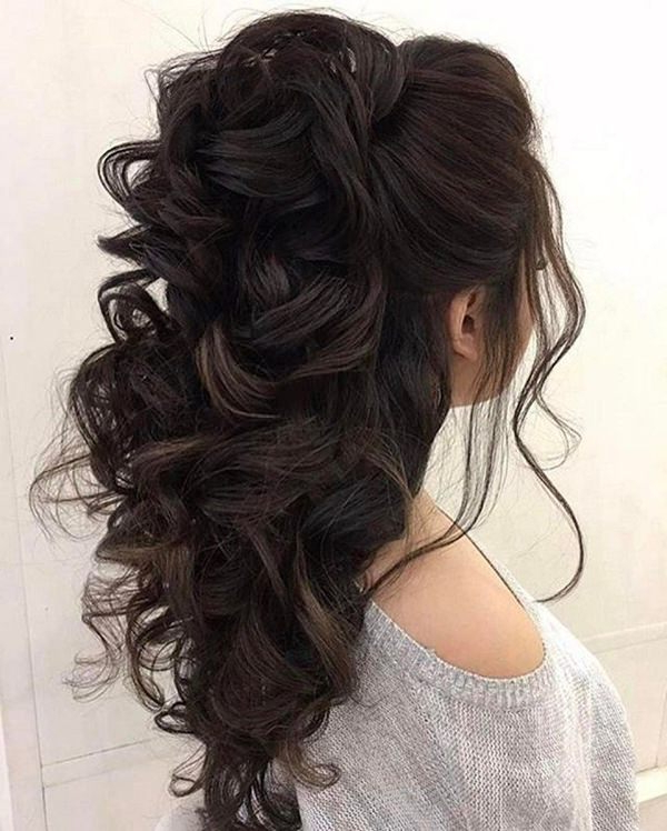 68 Elegant Half Up Half Down Hairstyles That You Will Love For Fancy Flowing Ponytail Hairstyles For Wedding (Gallery 11 of 25)