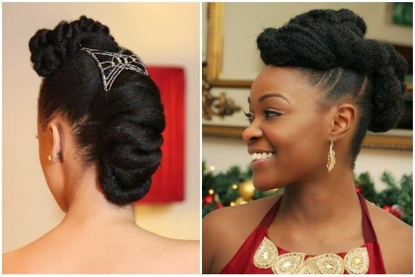 7 Pretty Perfect Natural Hairstyles For Black Brides | Curly Brides Regarding Pompadour Bun Hairstyles For Wedding (Gallery 15 of 25)