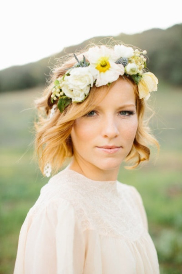 70 Steal-Worthy Long And Short Weddings Hairstyles regarding Flower Tiara With Short Wavy Hair For Brides