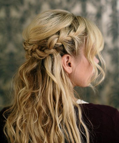 70 Unique & Stylish French Braids For Women – Hairstylecamp With Regard To Diagonal Waterfall Braid In Half Up Bridal Hairstyles (Gallery 19 of 25)
