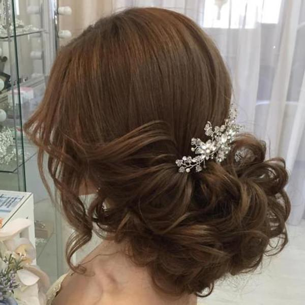 71 Wedding Hairstyles For Short, Medium & Long Hair – Style Easily Regarding Large Curly Bun Bridal Hairstyles With Beaded Clip (Gallery 23 of 25)