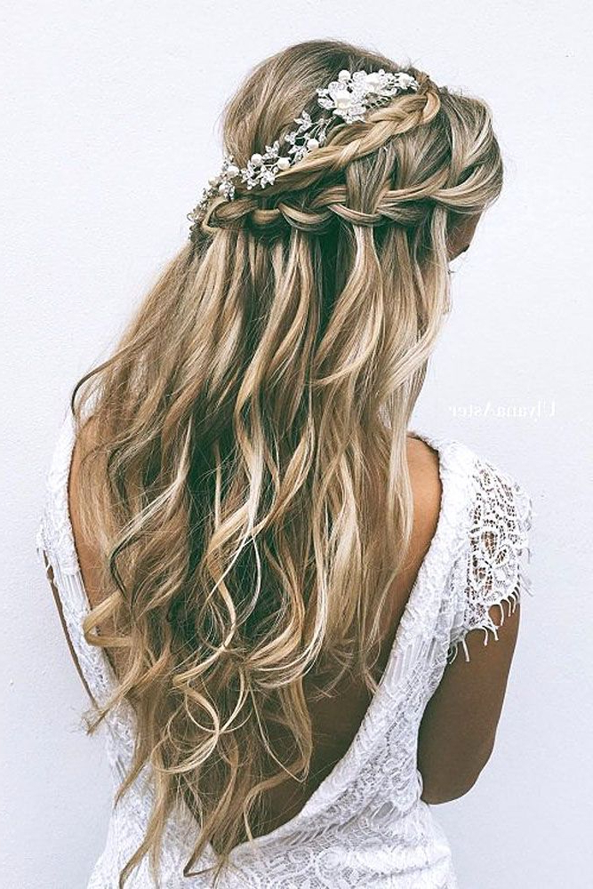 72 Best Wedding Hairstyles For Long Hair 2019 | Wedding | Wedding Inside Sophisticated Pulled Back Cascade Bridal Hairstyles (View 3 of 25)
