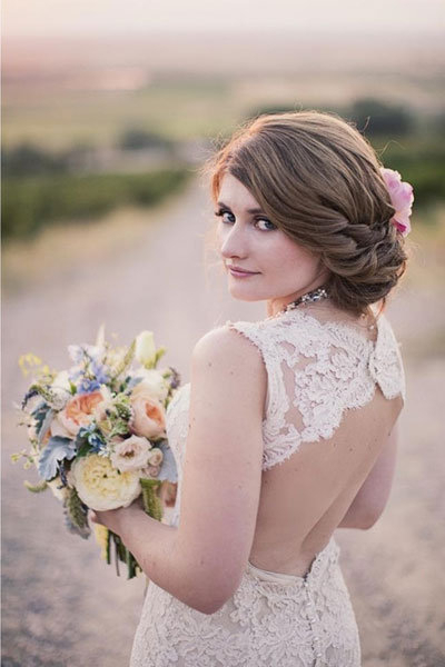 75 Wedding Hairstyles For Every Length | Bridalguide Inside Pulled Back Bridal Hairstyles For Short Hair (View 14 of 25)