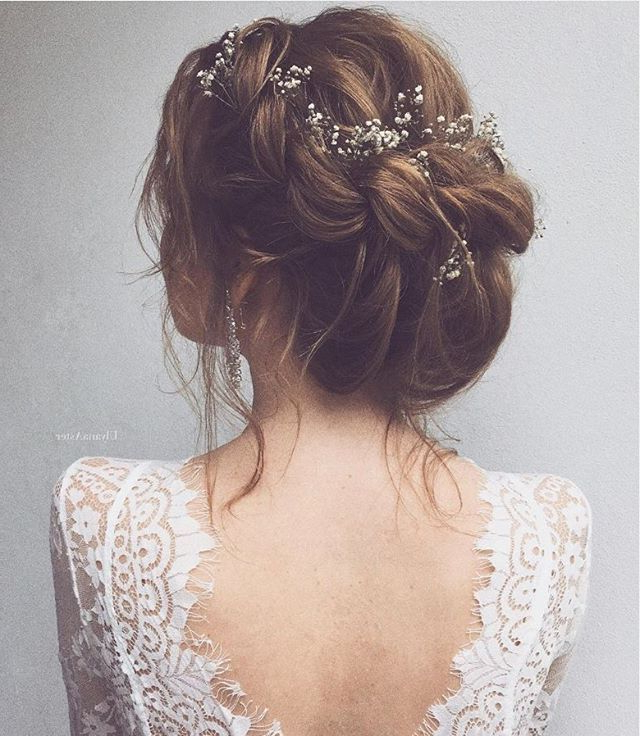 A Whimsical Braided Up Do With Baby's Breath Woven In. Hair Styled Pertaining To Woven Updos With Tendrils For Wedding (Gallery 11 of 25)