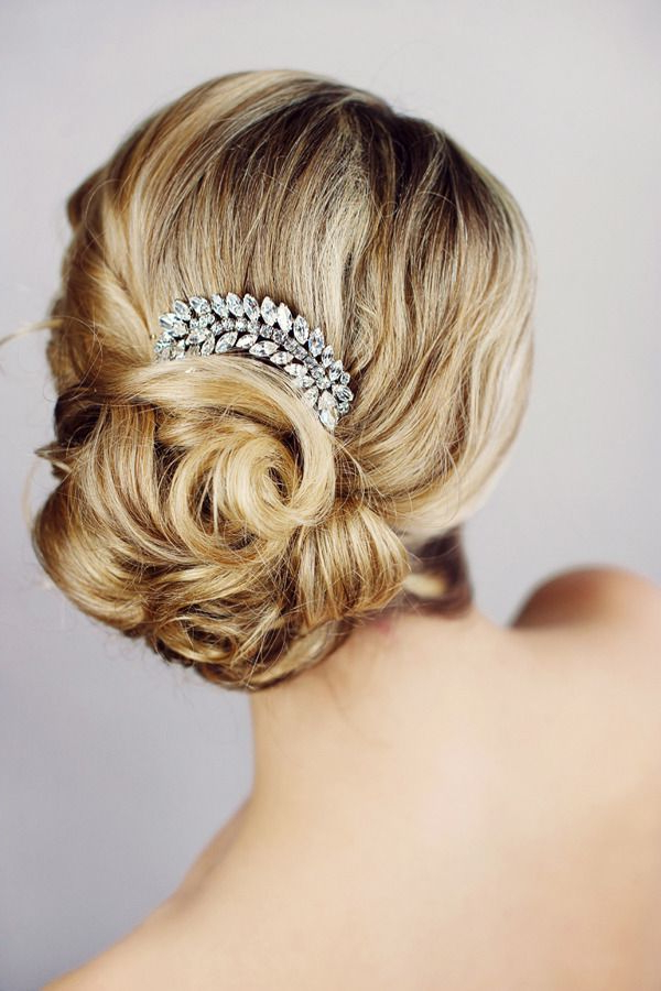 Add A Sparkly Hair Piece To Your Wedding Up Do For Extra Glam For Sparkly Chignon Bridal Updos (Gallery 3 of 25)