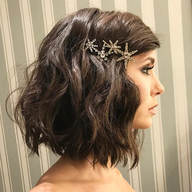 Add Some Edge To Your Lobpinning A Sparkly Brooch On One Side Pertaining To Pinned Brunette Ribbons Bridal Hairstyles (Gallery 12 of 25)