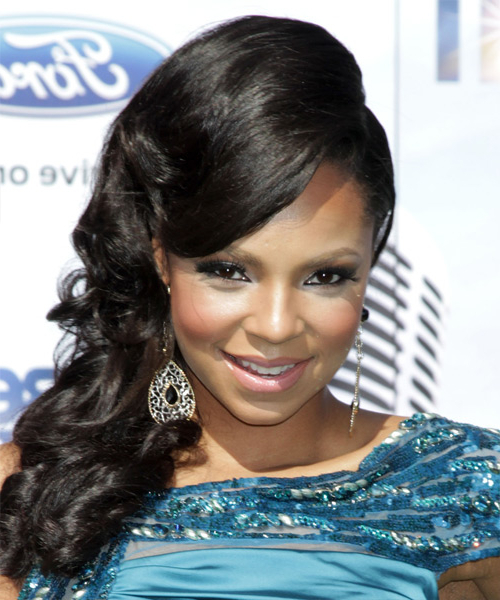 Ashanti Long Curly Formal Updo Hairstyle With Side Swept Bangs In Formal Curly Updos With Bangs For Wedding (View 20 of 25)